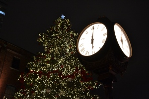 "The clock strikes six at the Toronto Christmas Market in the Distillery District. A small choir was serenading the crowd as we passed by to check out tiny log cabins selling homemade goods and Christmas foods like mulled wine. Me, being a dumb bum, didn't get any. Oh well. There's always next year to try and do the Christmas Market right! To quote Disney's Tangled: ""It's kind of an annual thing."""