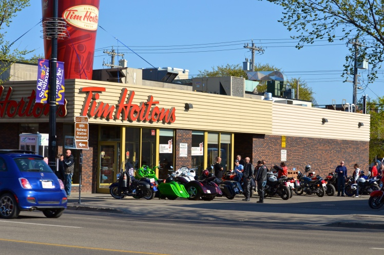 The biker Tim Horton's on Whyte Ave. Their entire parking lot is always filled with motorcyclists with their sprinkled donuts and coffee.