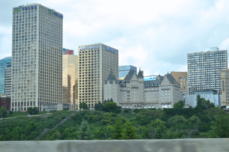The Fairmont Hotel Macdonald overlooking the River Valley. The Jasper Ave skyline stands behind it.