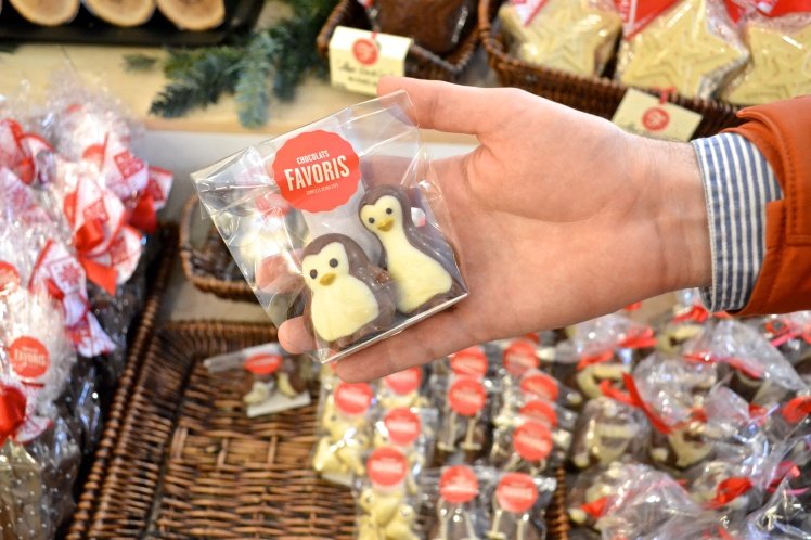 Chocolate penguins at Chocolats Favoris, Quebec City