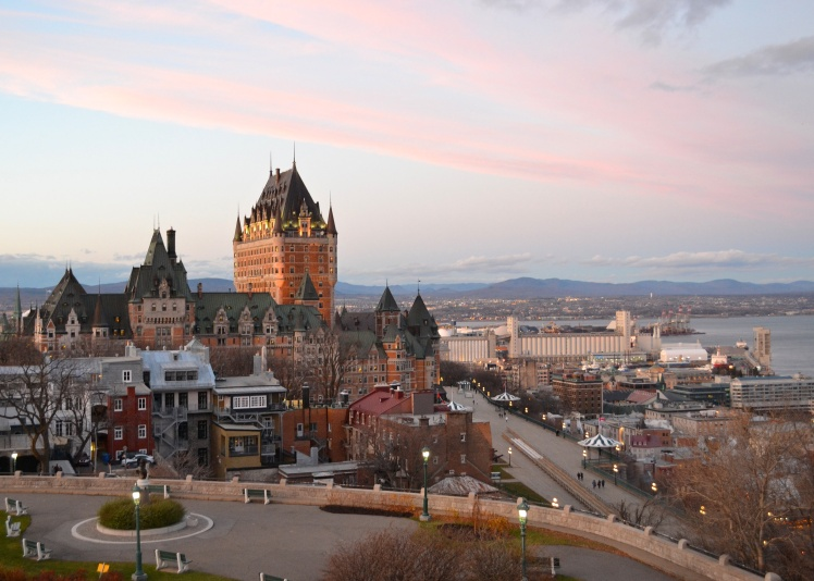 Chateau Frontenac; Old Quebec; UNESCO; Quebec City; Sunset; The Full-Time Tourist