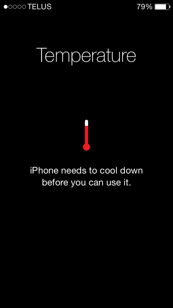iPhone needs to cool down before you can use it screen