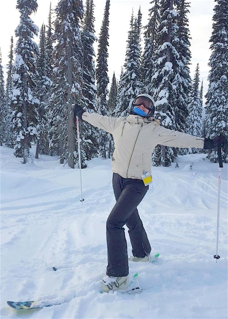The Full-Time Tourist skiing at Revelstoke Ski Resort in Revelsoke, B.C., Canada.
